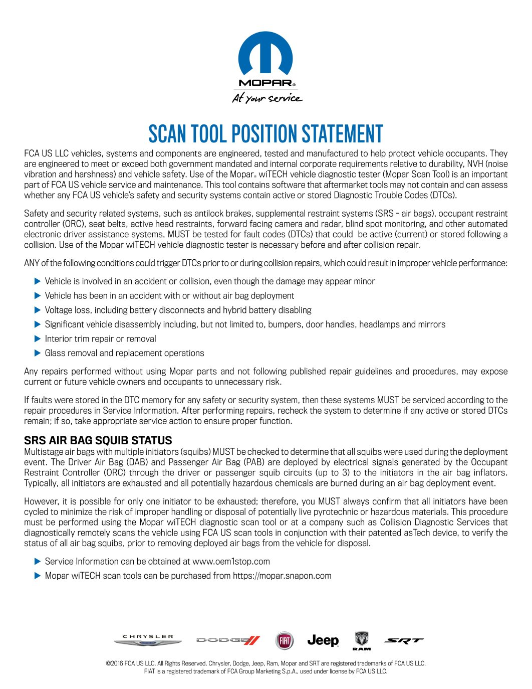 Mopar Scan Tool PositionStatement-ScannerUse_v01r02