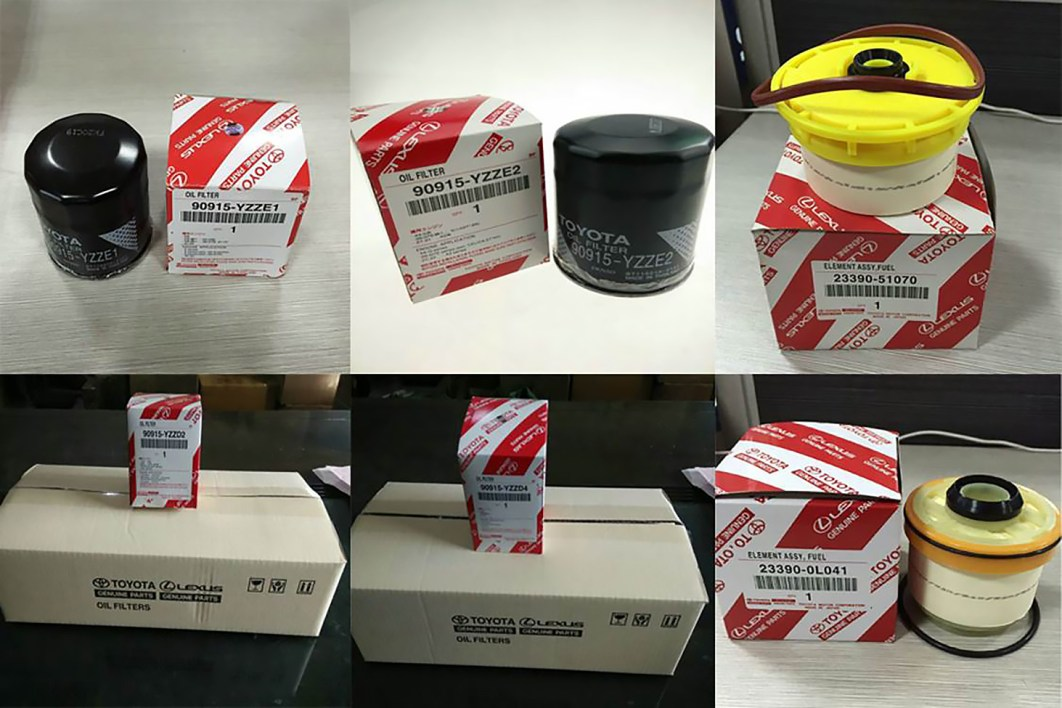 An example of counterfeit Toyota parts and packaging found in a raid by Chinese authorities. (Provided by FCAI)