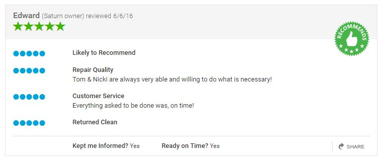 An example of a review from Carwise. (Screenshot from www.carwise.com)