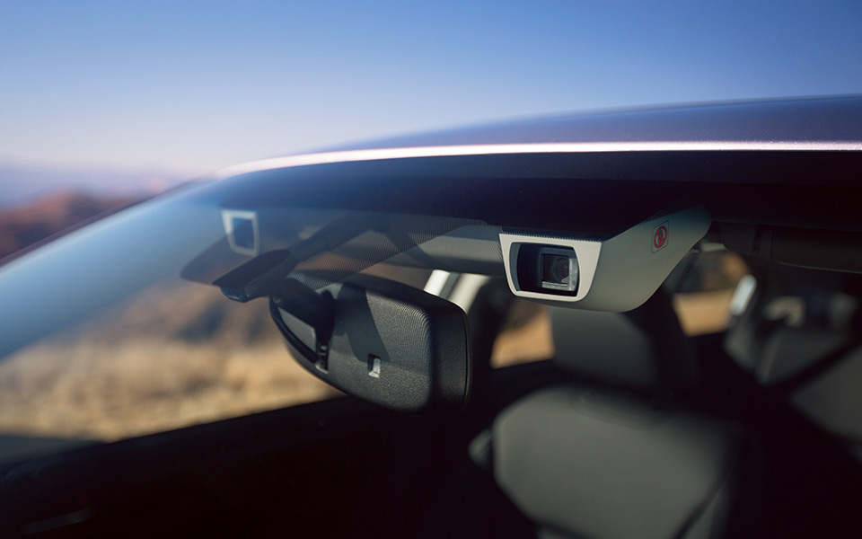 This photo from Subaru demonstrates the EyeSight ADAS camera technology. A header on the media page describes the tech as 2016, though it's unclear if this refers to the calendar or model year. (Provided by Subaru)