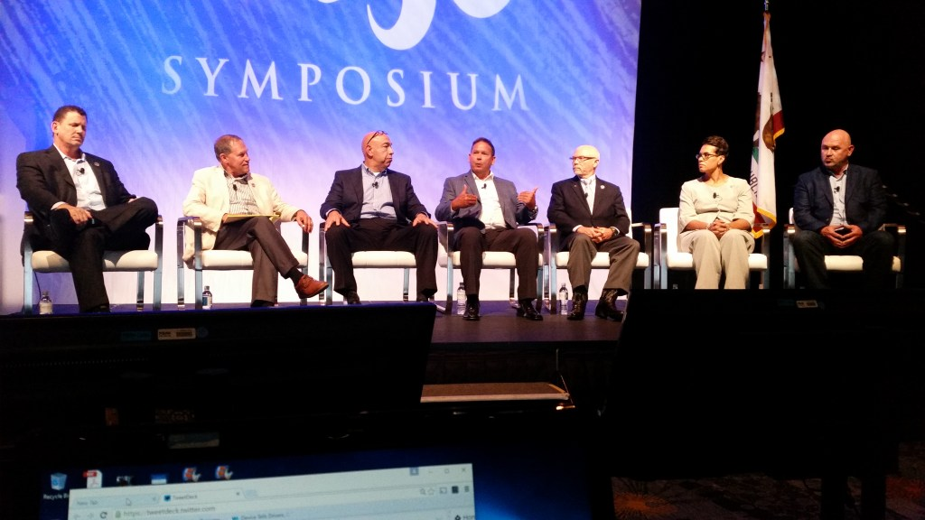 From left, John Walcher, Veritas Advisors president; Focus Investment Banking managing director Dave Roberts; Carubba Collision CEO Joe Carubba; Jim Keller, president of 1Collision Network; Darrell Amberson, operations president of LaMettry's Collision; Auto Art of Nashville managing partner Twila Harris; and Rick Wood, CEO of Cooks Collision, participate in a panel during the NACE MSO Symposium on Aug. 11, 2016. (John Huetter/Repairer Driven News)