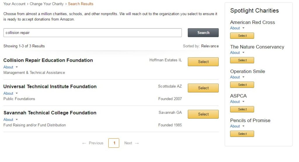 This screenshot from AmazonSmile shows how the Collision Repair Education Foundation can be selected as a preferred charity. (Screenshot from smile.amazon.com)
