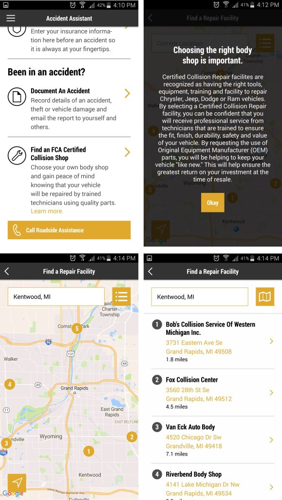 Screenshots related to finding a certified collision shop from the FCA Mopar owners' app. (Screenshots from the Mopar Companion app)