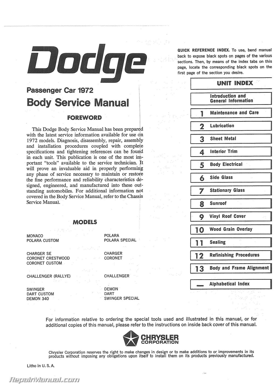 Dodge Challenger Dart Charger Coronet Polara Monaco