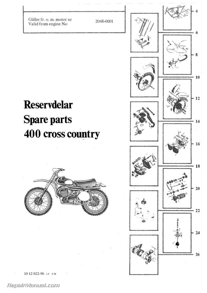 Husqvarna Motorcycle Parts Diagram 1977 Wiring 1974 1975 400 Wr Manual