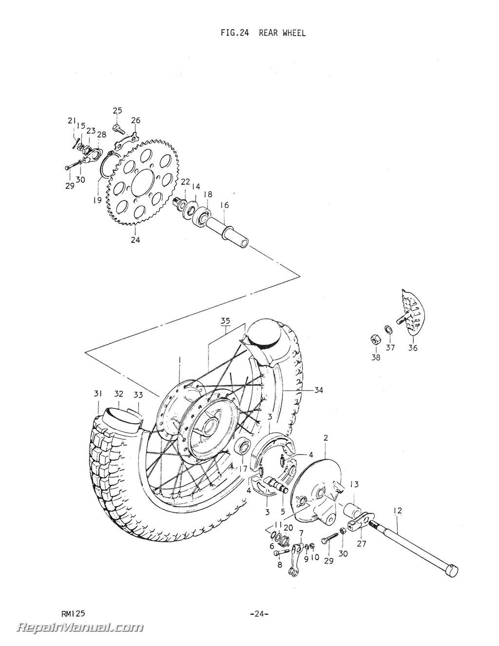 Suzuki Rm125m Motorcycle Parts Manual