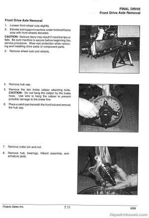 19962000 Polaris Sportsman 335 500 Atv Manual De Serviço