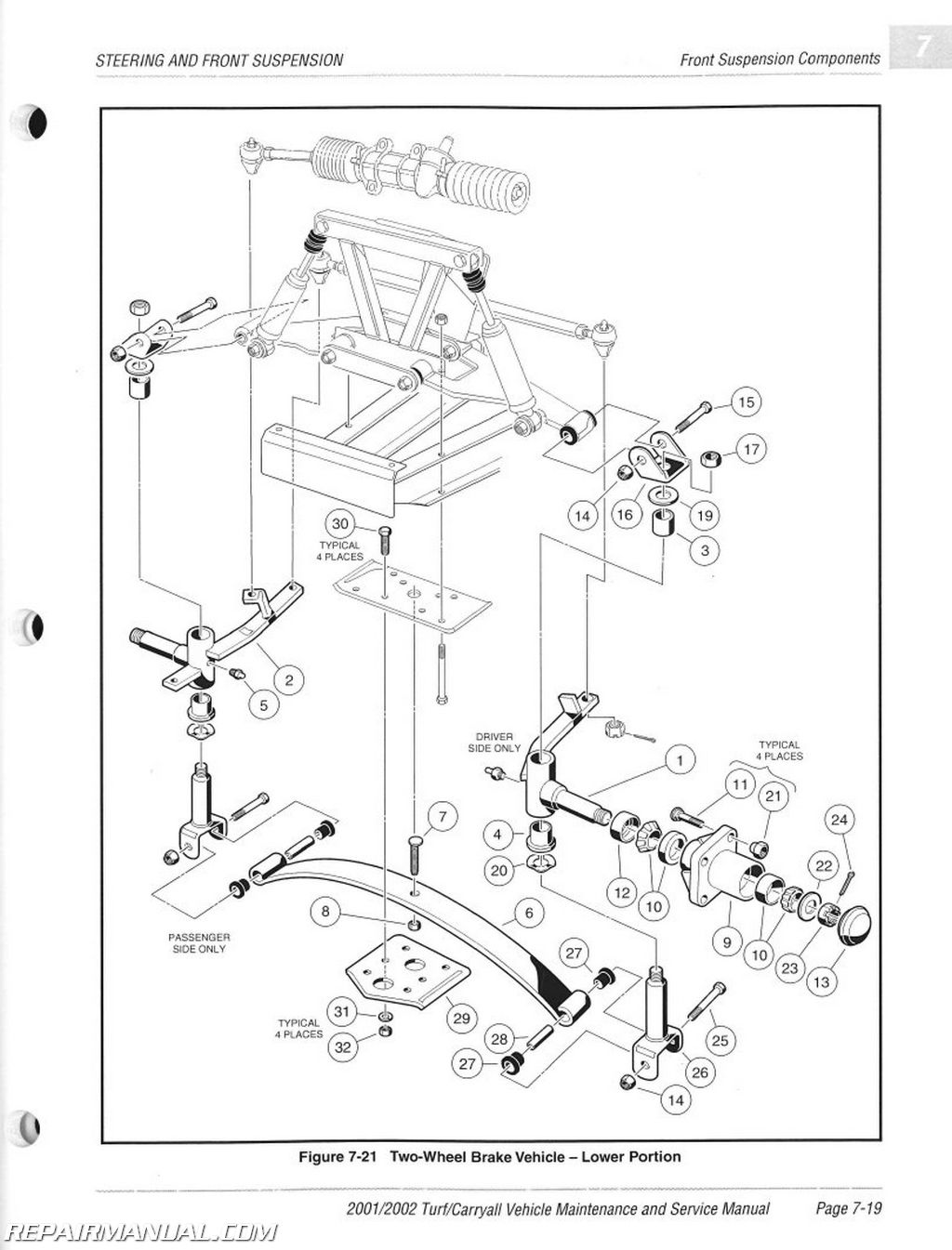2001 2002 club car turf 1 2 6 carryall 1 2 plus 6 gas electric golf rh repairmanual club car ds steering parts new club car steering gear box