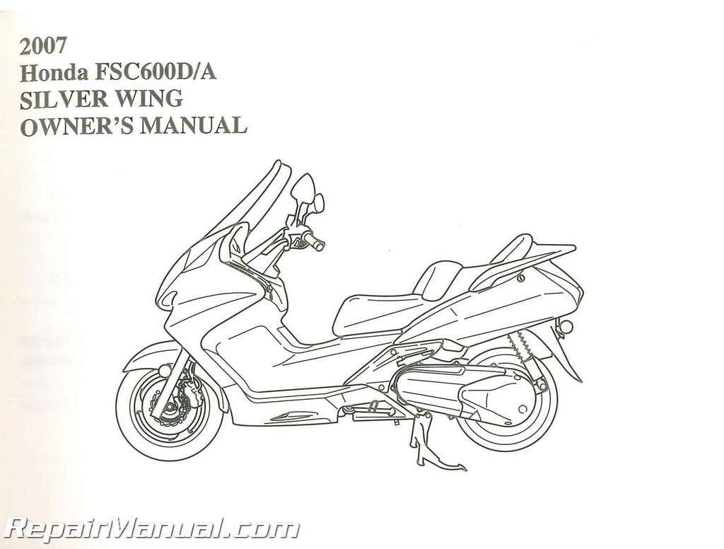 Honda Fsc600 Silver Wing Scooter Owners Manual
