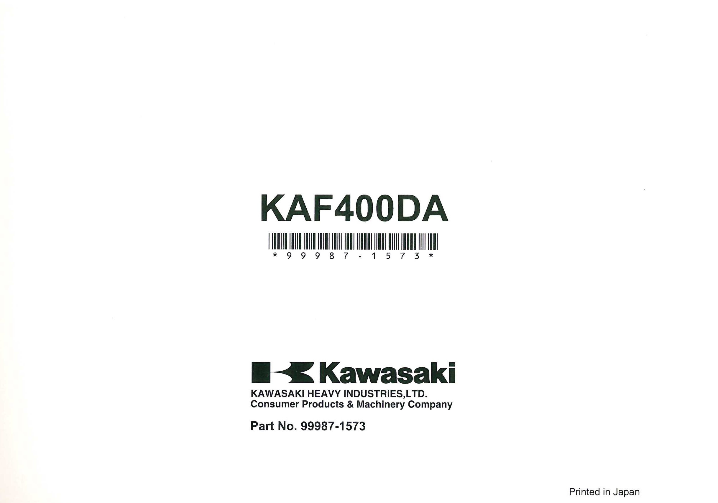 Kawasaki Kaf400d Mule 610 4x4 Xc Owners Manual