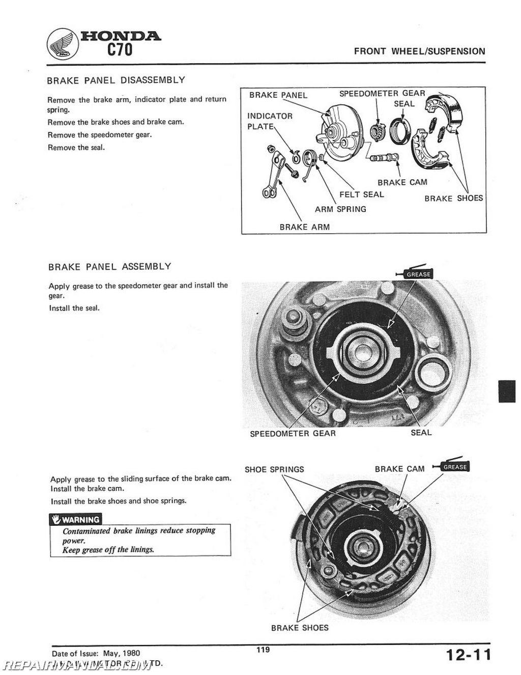Honda C70 Scooter Workshop Service Repair Manual
