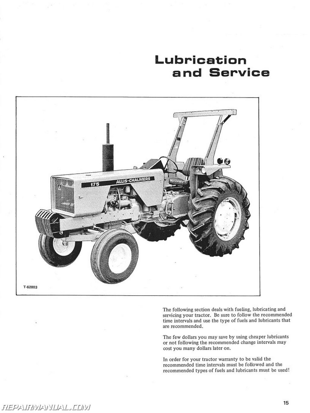 Allis Chalmers 175 Gas Andsel Operators Manual