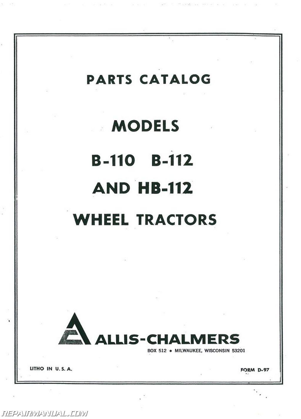 Allis Chalmers B110 B112 Hb112 Lawn Garden Tractor Parts