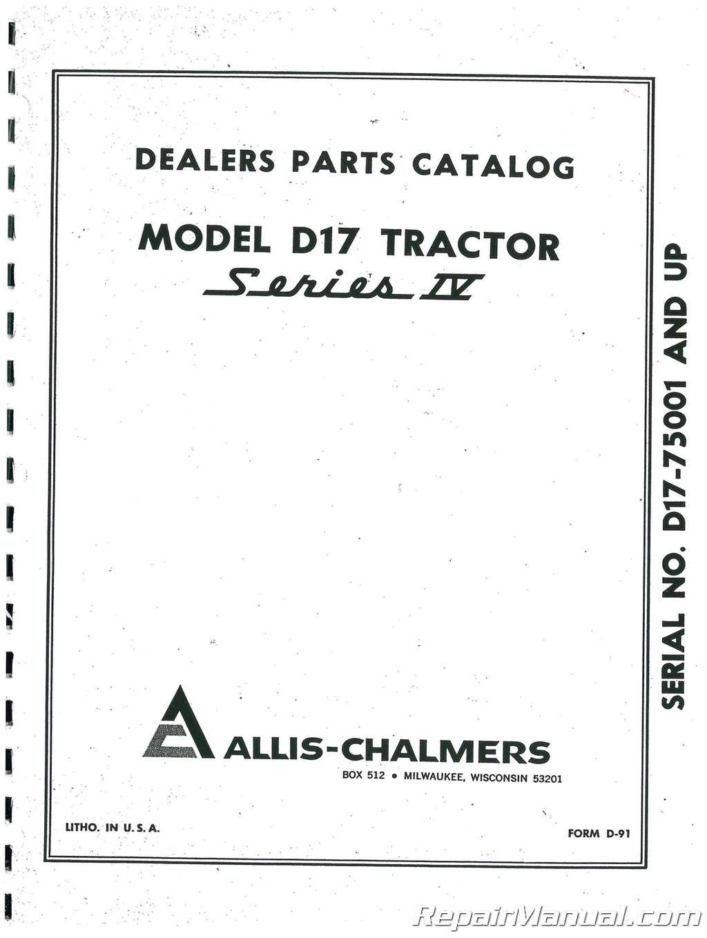 Allis Chalmers D17 Series Iv | Wiring Diagram Database on