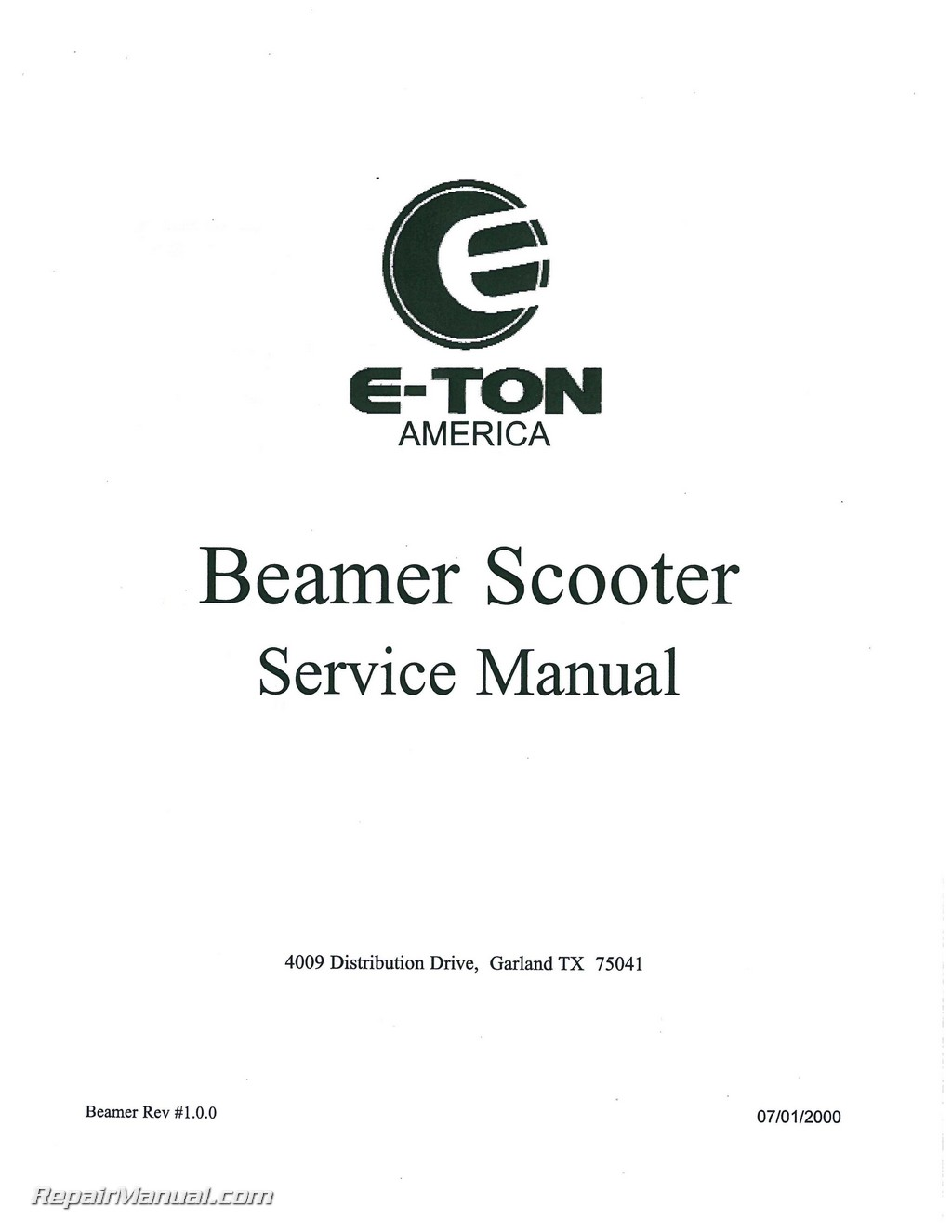 Eton Beamer Scooter Service Manual