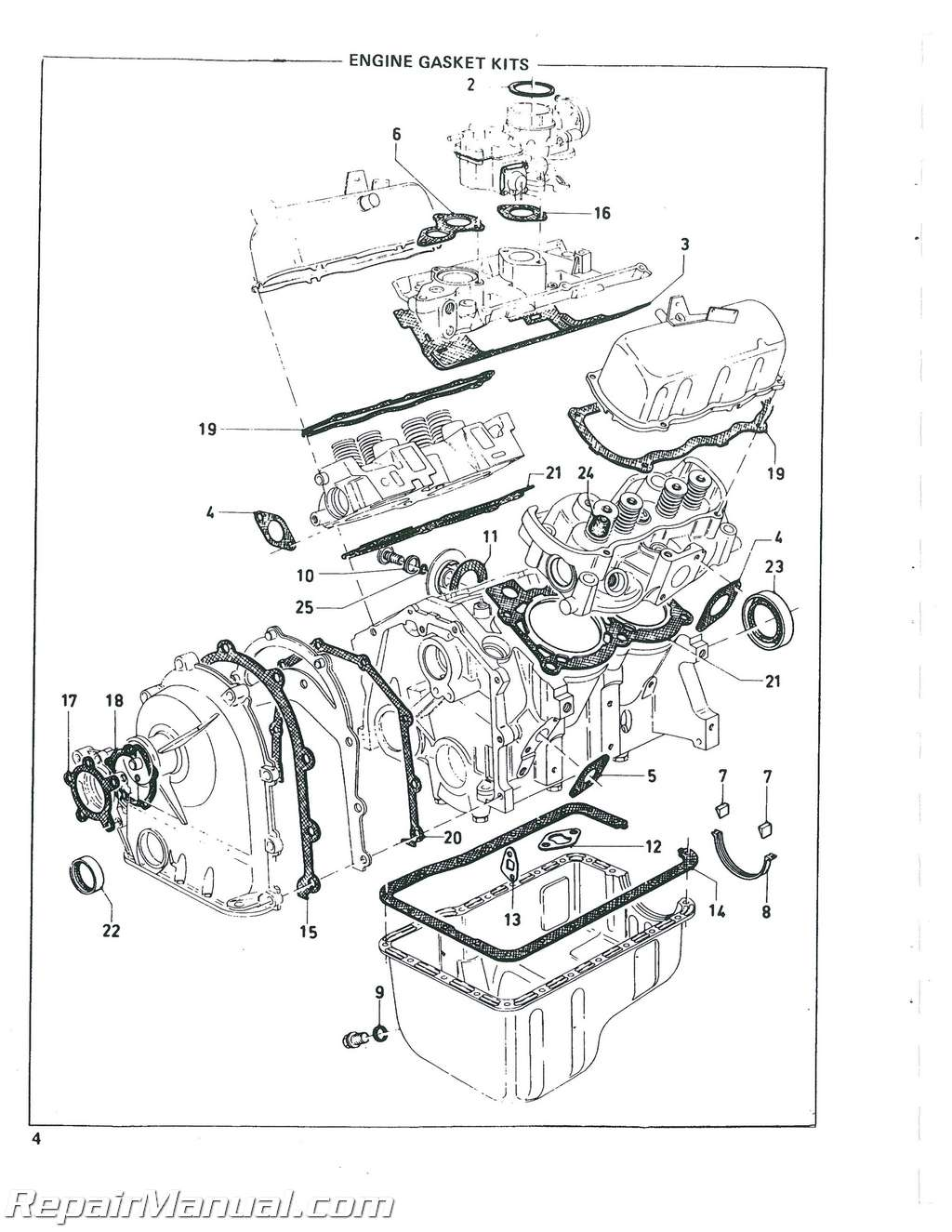 Ford Eng 104 V 4 Used In Various Skid Steers Parts Manual