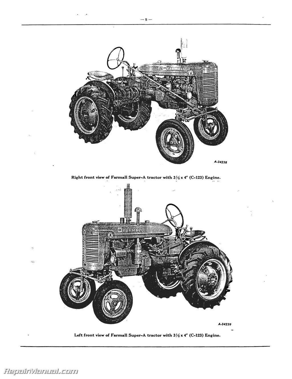 Farmall Super A Av A 1 Av 1 Tractor Parts Manual
