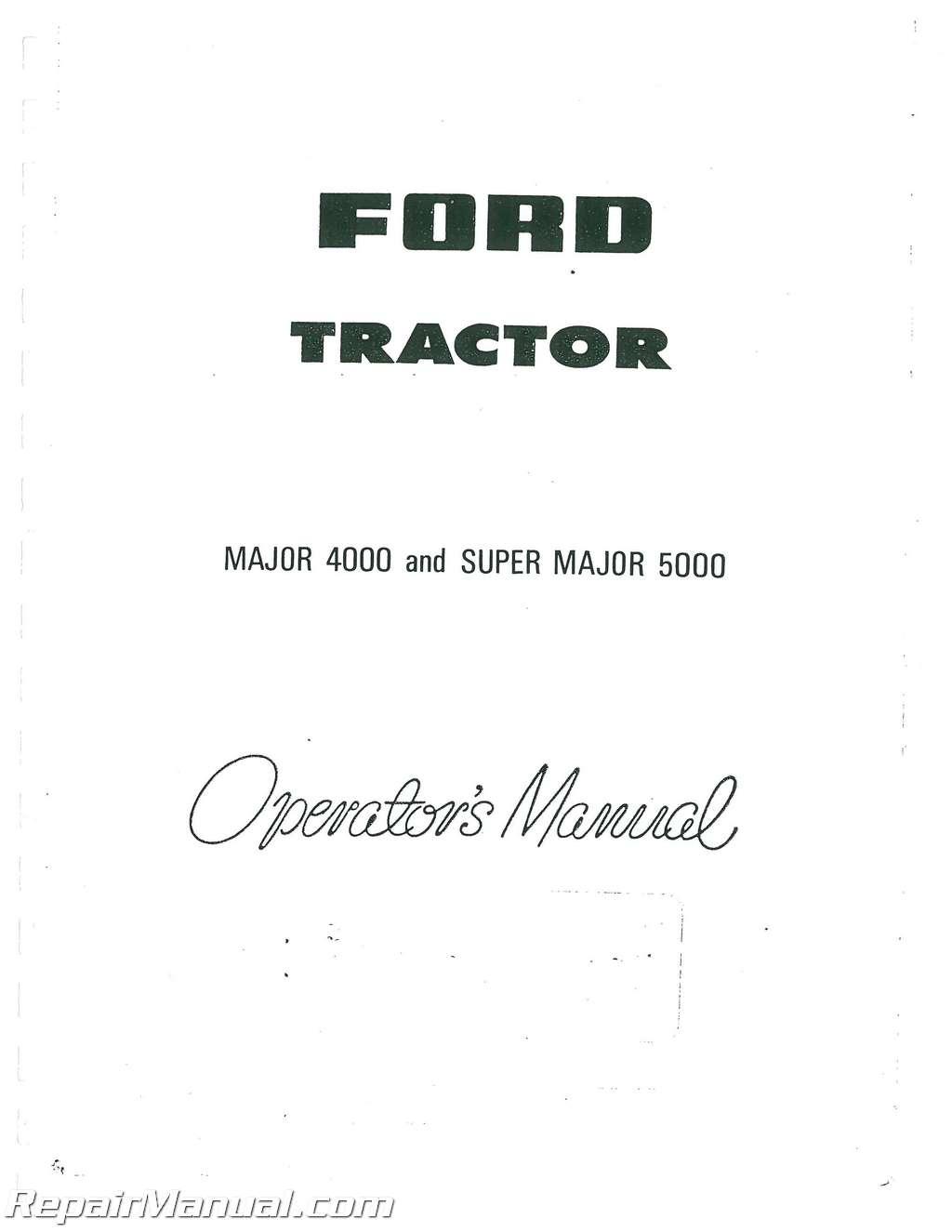 Fordson Super Major Operators Manual