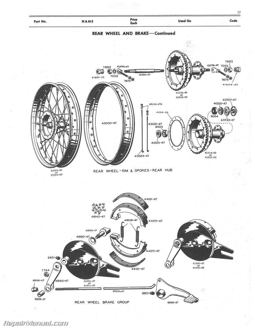 Motorcycle Parts Manual