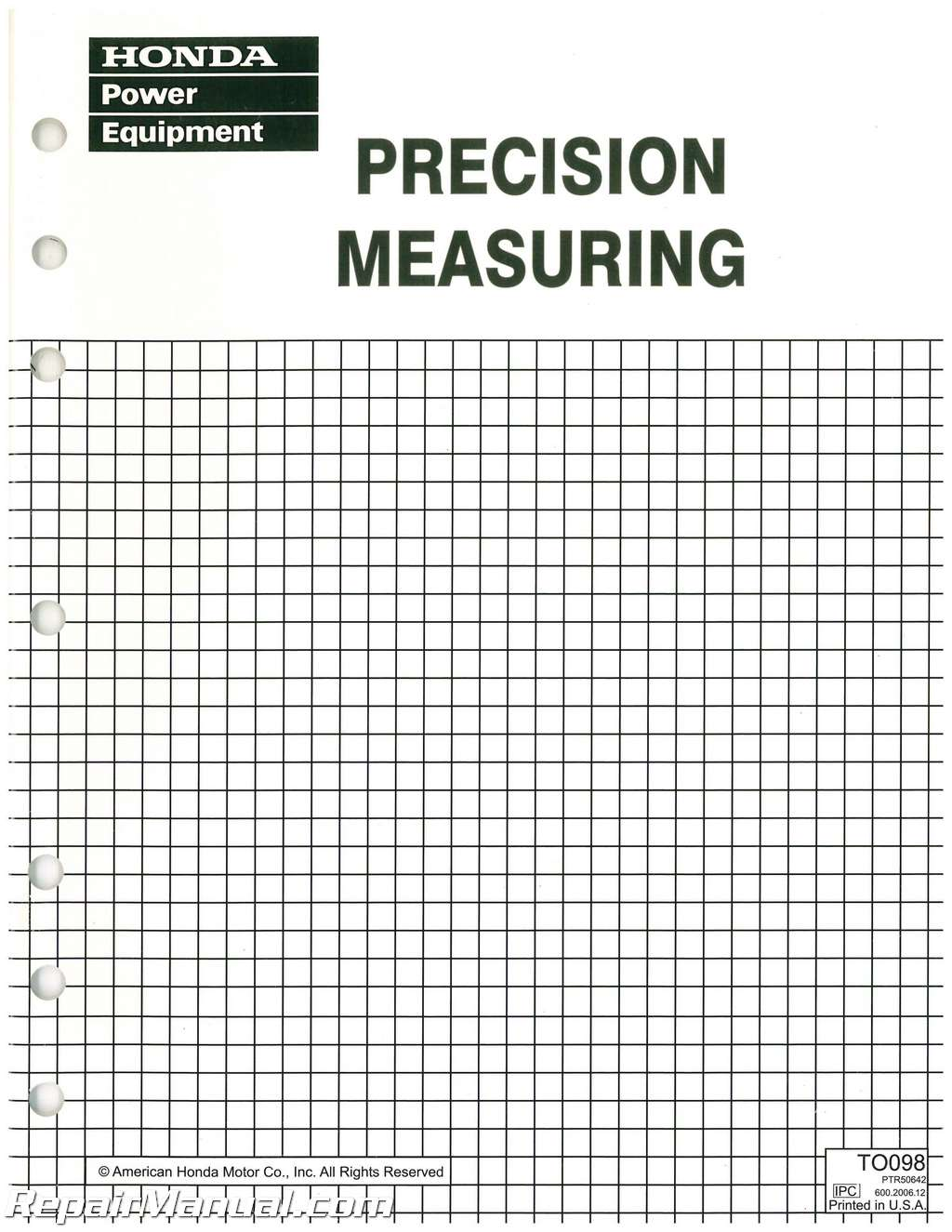 Honda Precision Measuring Manual