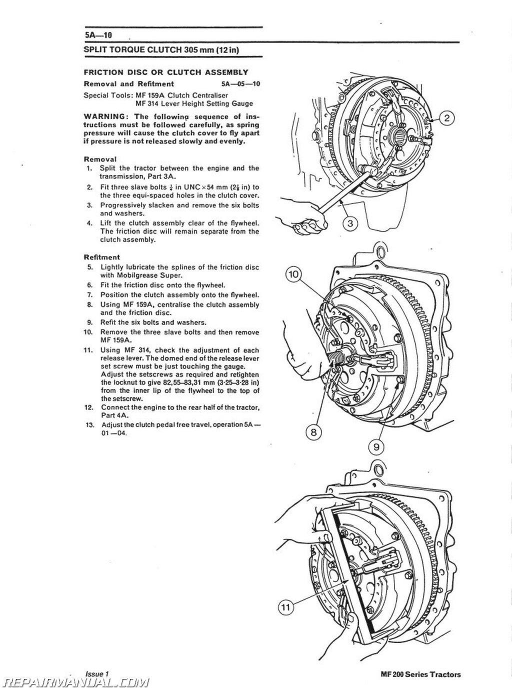 Massey Ferguson Mf230 Mf240 Mf250 Mf253 Mf270 Mf290 Mf298 Service Manual