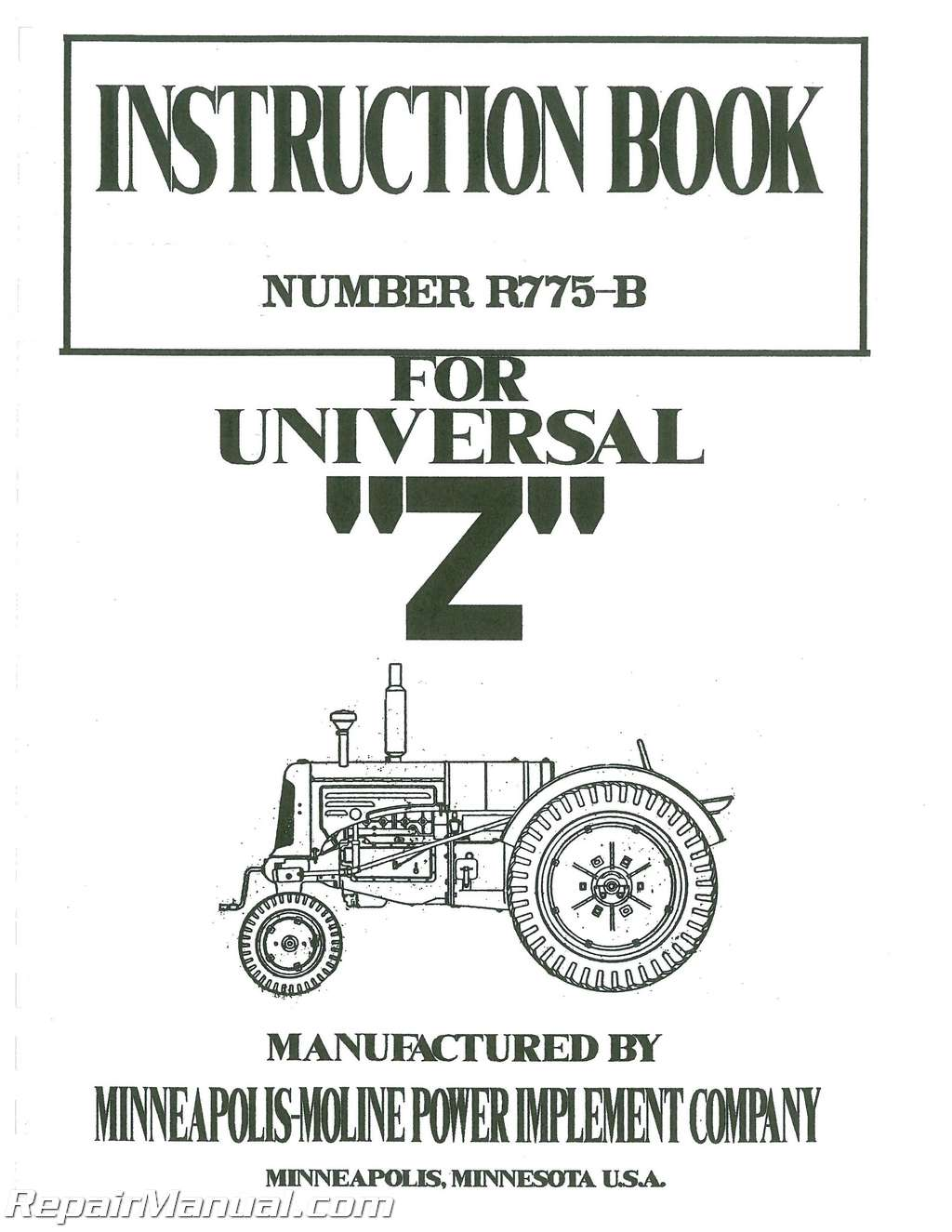 Minneapolis Moline Universal Z To Service Manual