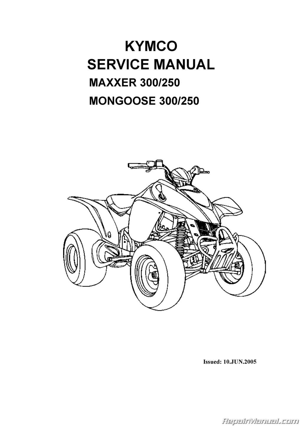 Kymco Mongoose 250 300 Maxxer Atv Printed Service Manual