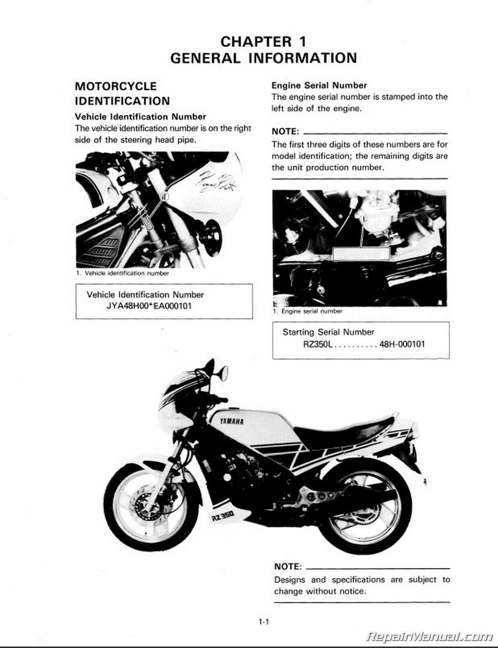Yamaha Rz350 Manual Motorcycle Service
