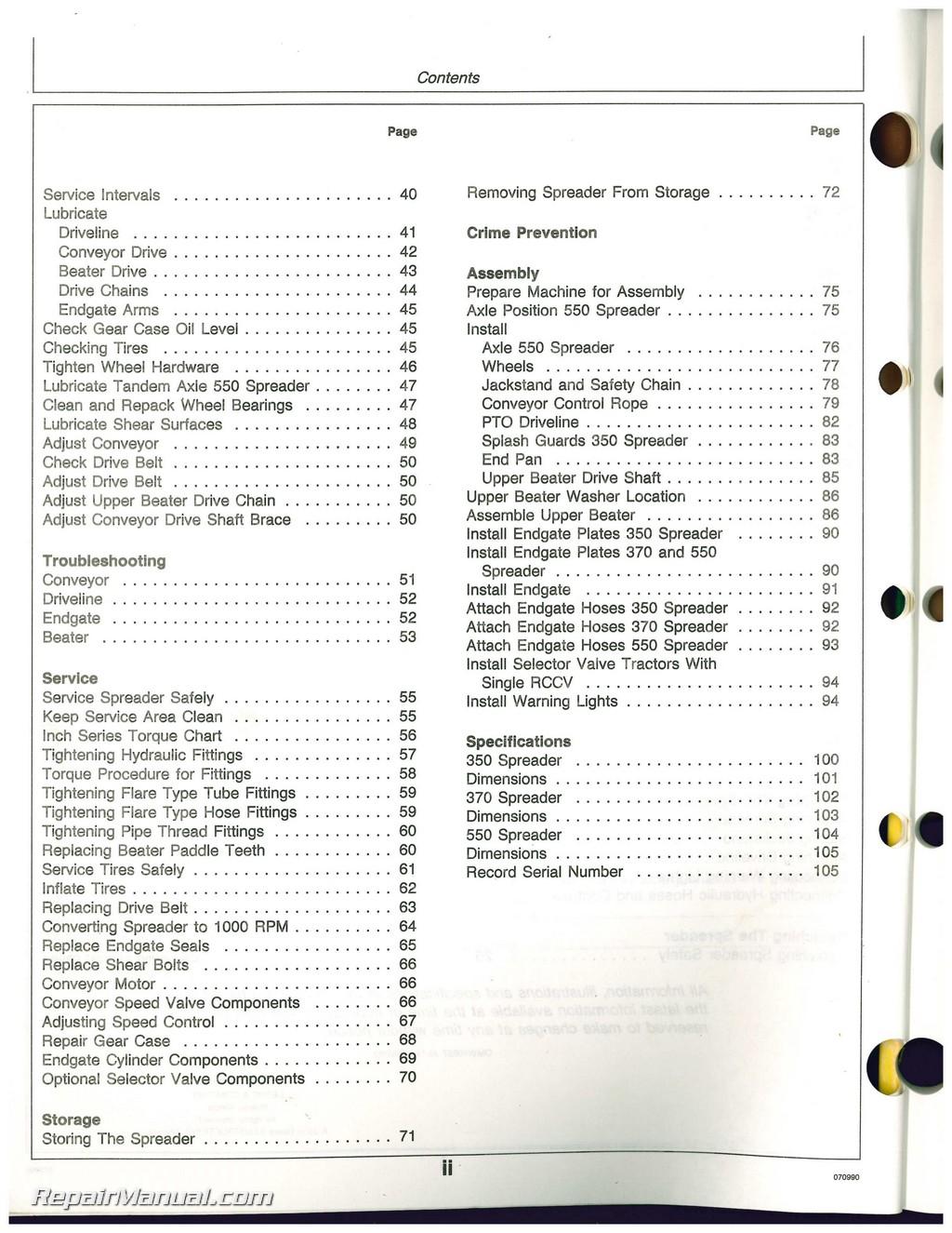 Used John Deere 350 370 And 550 Manure Spreaders