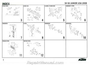2008 KTM 50 SX Junior Engine Spare Parts Manual
