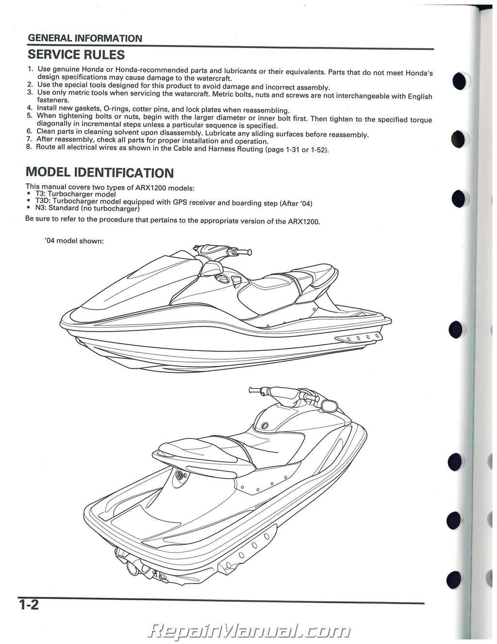 Honda Arx Aquatrax N3 T3 T3d Owners Service