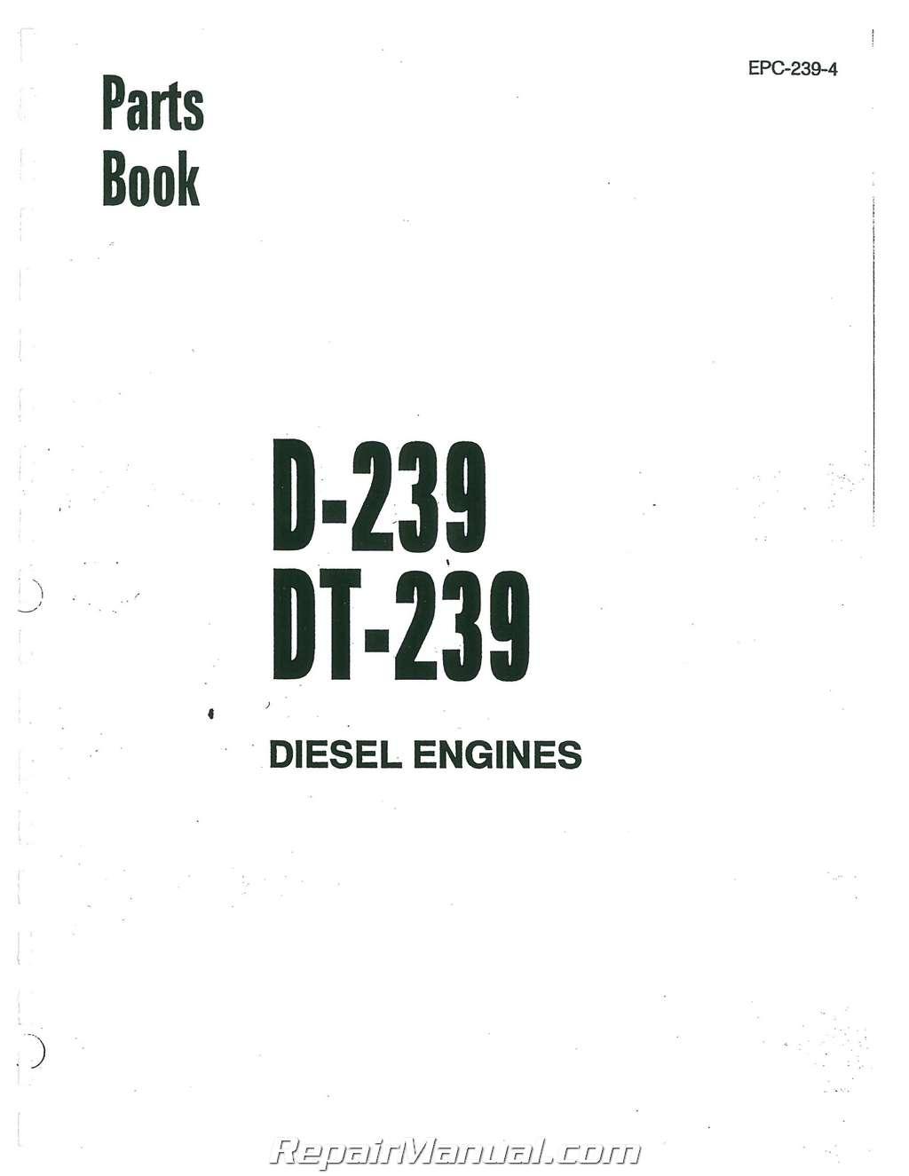 International Harvester 250a D239sel Engine Only Parts