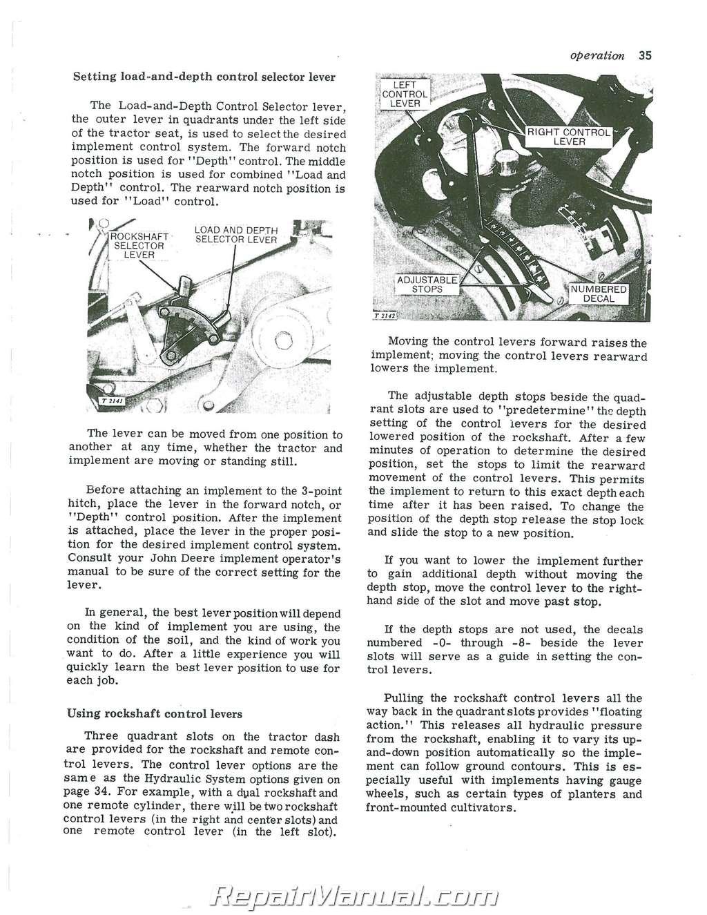 John Deere Tractor Operators Manual Sn 0