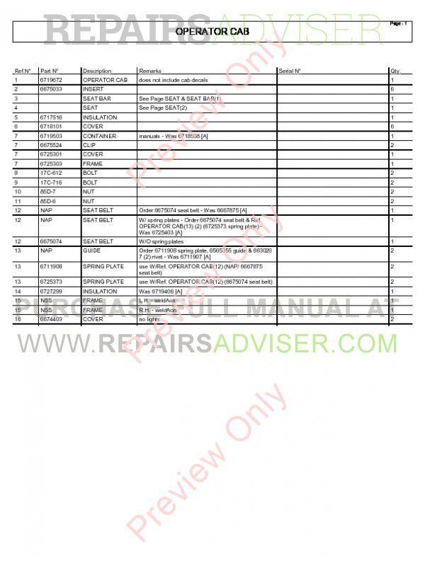 Bobcat T200 Turbo 864 G Series Parts Manual Download