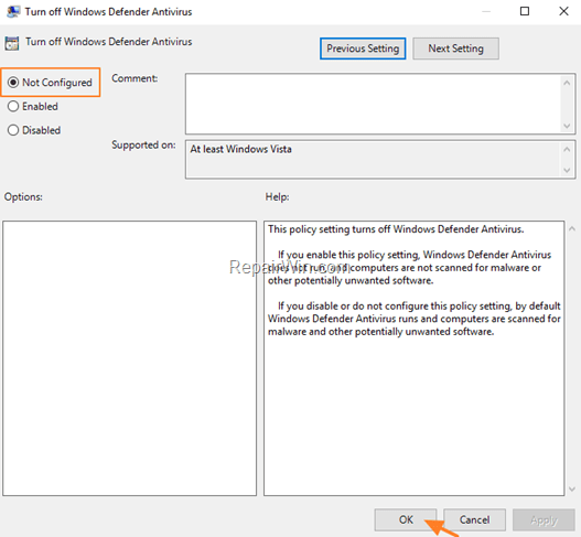 enable defender antivirus protection group policy
