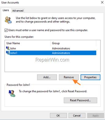 User Accounts Options