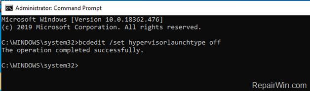 Disable Hyper-V Command Windows 10