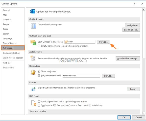 Start Outlook in Different Mail Folder