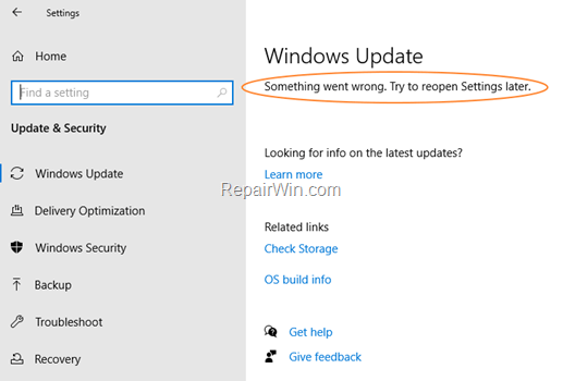 SỬA Đã xảy ra lỗi. Hãy thử mở lại Cài đặt sau trong Windows Update