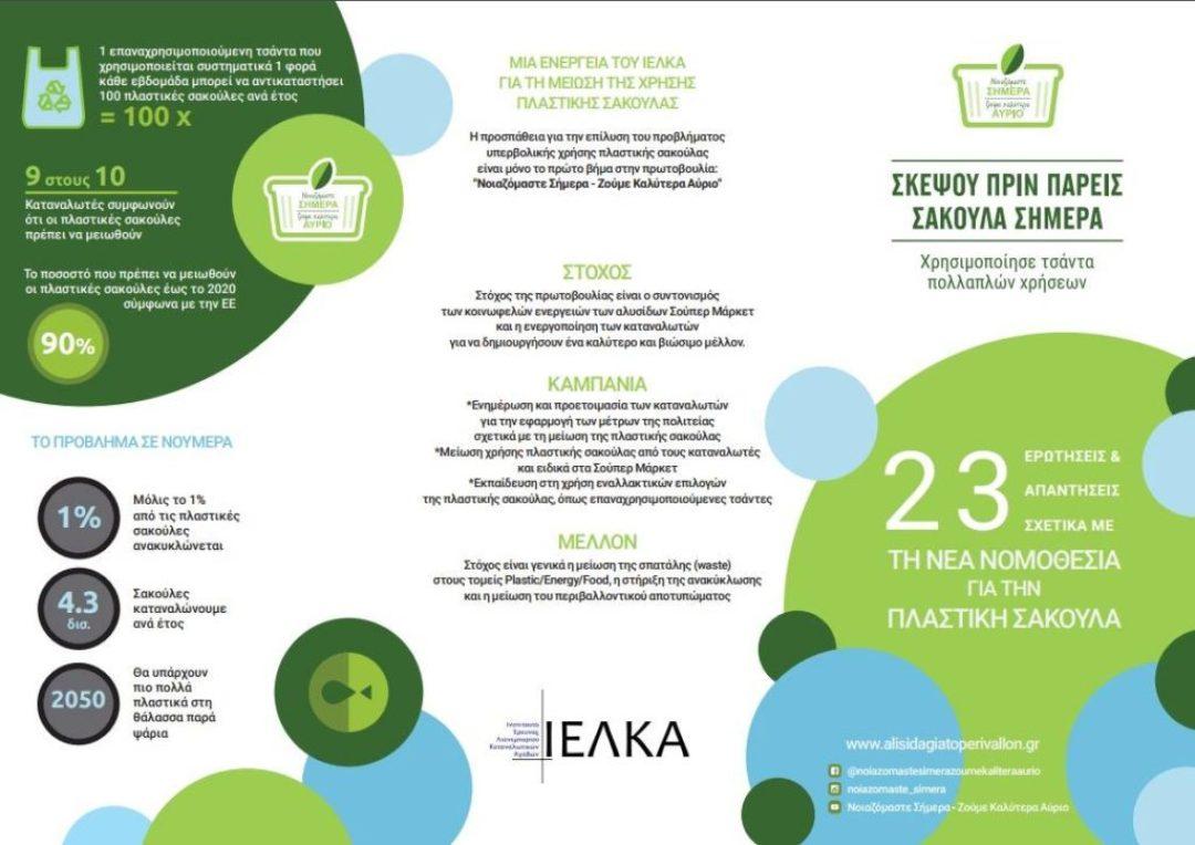 Απαγόρευση πλαστικών σακούλων, ΙΕΛΚΑ επίσημα στοιχεία, Ελλάδα 2018