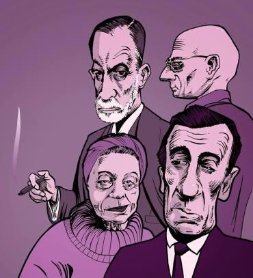 Maurice Merleau-Ponty, Michel Foucault, Simone de Beauvoir, Sigmund Freud