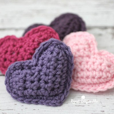 Crochet Puffy Hearts