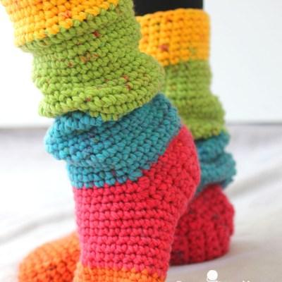 Caron Chunky Cakes Slouchy Slipper Socks