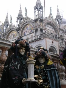 Venice with St Marco Church and masks