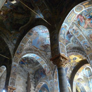 Mystical painted ceiling in Palatina Chapel in Palermo