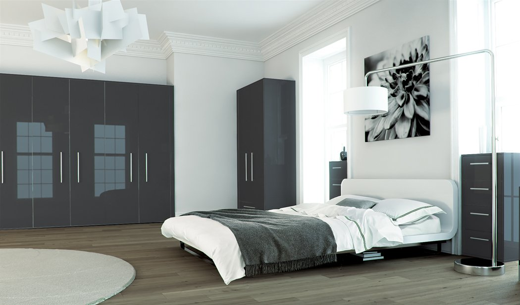 Zurfiz Metallic Blue Bedroom