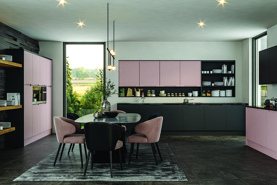 Integra Full Handle Option Matt Blush Pink Kitchen