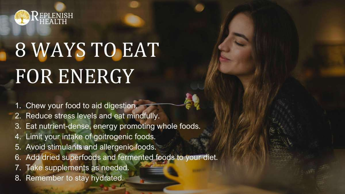 An image of a printable guide to 8 Ways to Eat for Energy