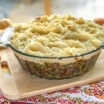 An image of a vegan mushroom lentil shepherds pie.