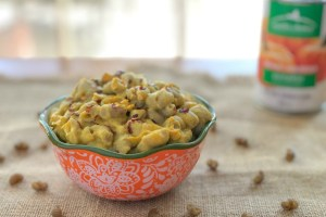 An image of of a bowl of pumpkin Mac and cheese